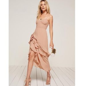 Reformation Sasha Ruffle Midi Dress